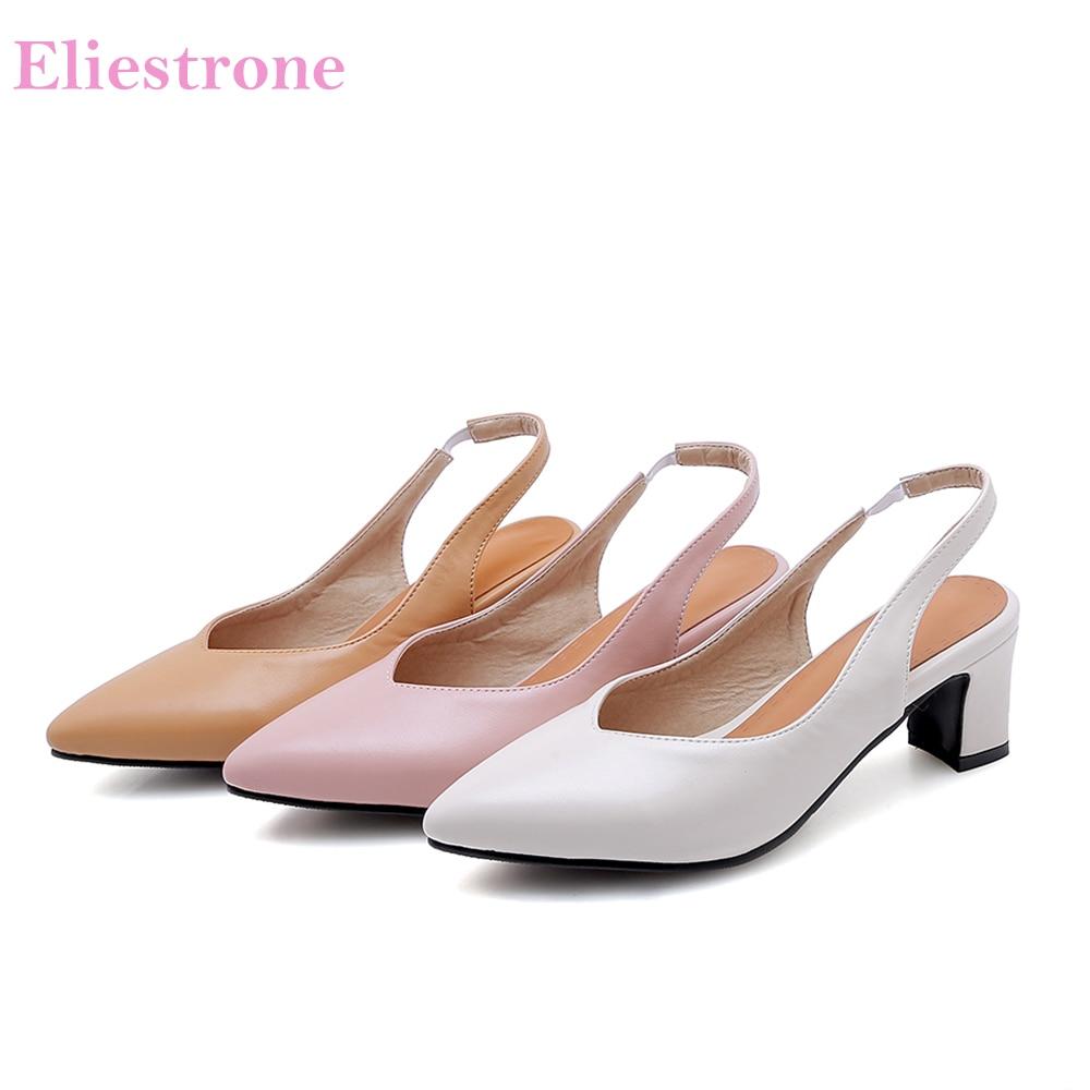 2019 Summer Brand New Soft Beige Black Women Sandals 3 inch Hoof Heels Lady Dress Shoes BK99 Plus Big Small Size 3 10 30 44 48