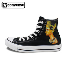 Converse All Star Gold Egyptian Theme Africa King Queen Design Hand Painted Shoes Women Men Canvas Shoes Skateboarding Sneakers