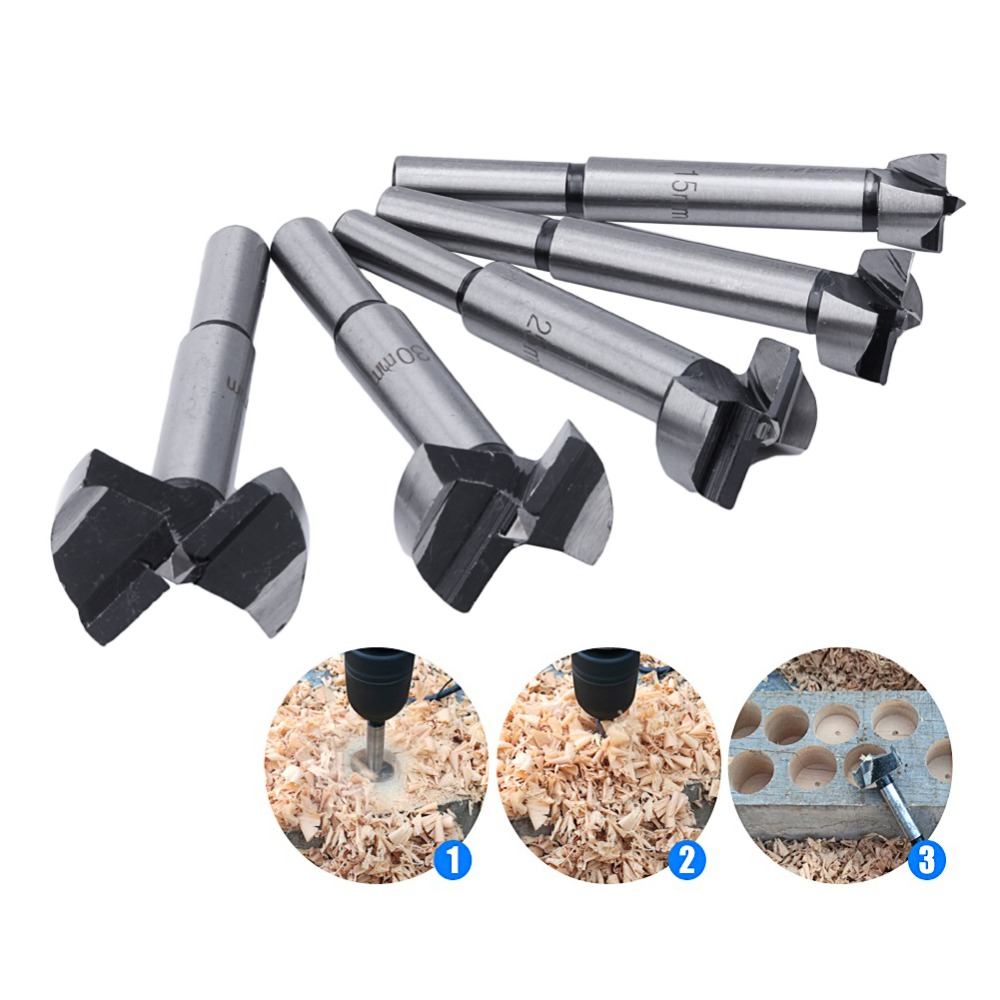 5Pcs/Set Wood Drill Bit Wood Drills Boring Hole Saw Cutter Tool 15/20/25/30/35mm new 50mm concrete cement wall hole saw set with drill bit 200mm rod wrench for power tool