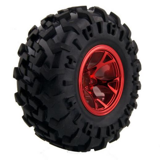 Free Shipping 4pcs 1/10 Rc Monster Truck Wheels Tyres Tire For Hsp 94111 94188 94180 With Silver Red Blue Rim Diameter 130mm Remote Control Toys