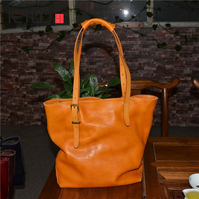 31c4d56e35cc AETOO Large leather handbag vegetable tanned rub color retro tree cream  leather soft tote