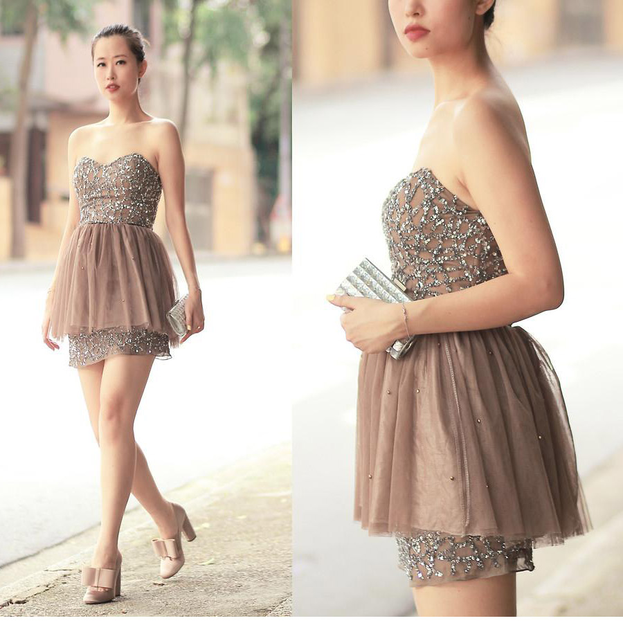 Popular Beading Cocktail Dresses Brown-Buy Cheap Beading Cocktail ...