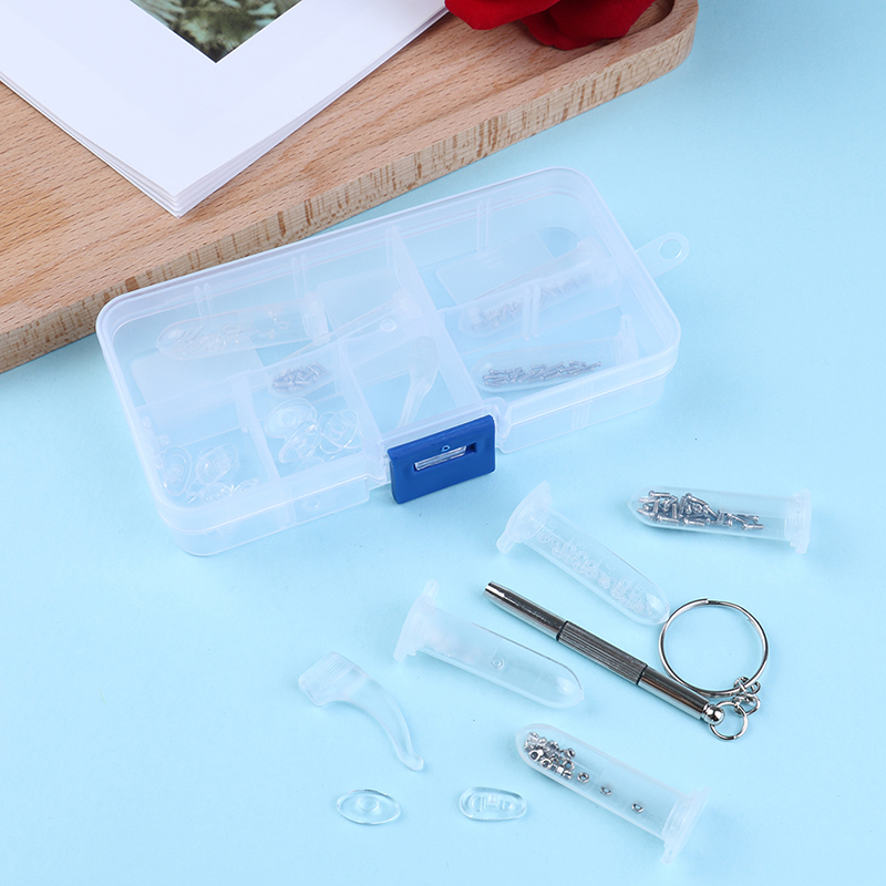 1set Silicone Ear Pads Eyeglass Nose Pad Repair Screws Tool Box Optical Glasses Repair Kit Sunglasses Screw Nut Assortment Set