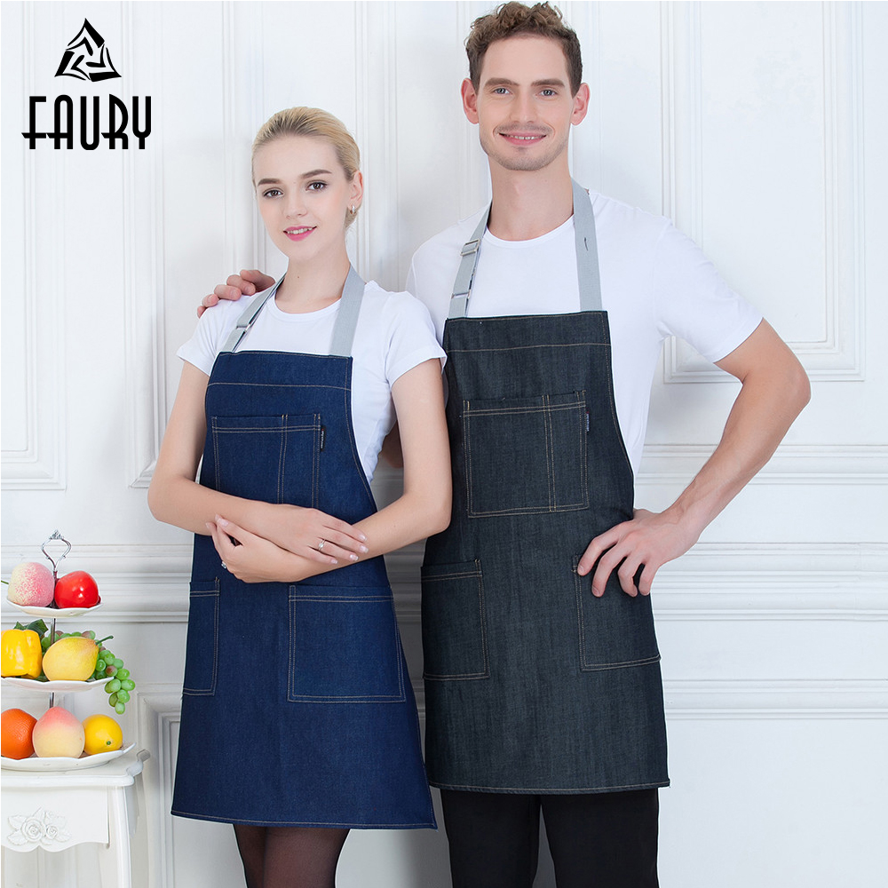New Wholesale Denim Stripe Apron With Pocket Hanging Neck Food Service Kitchen Coffee Bakery Chef Waiter Cleaning Work Uniform