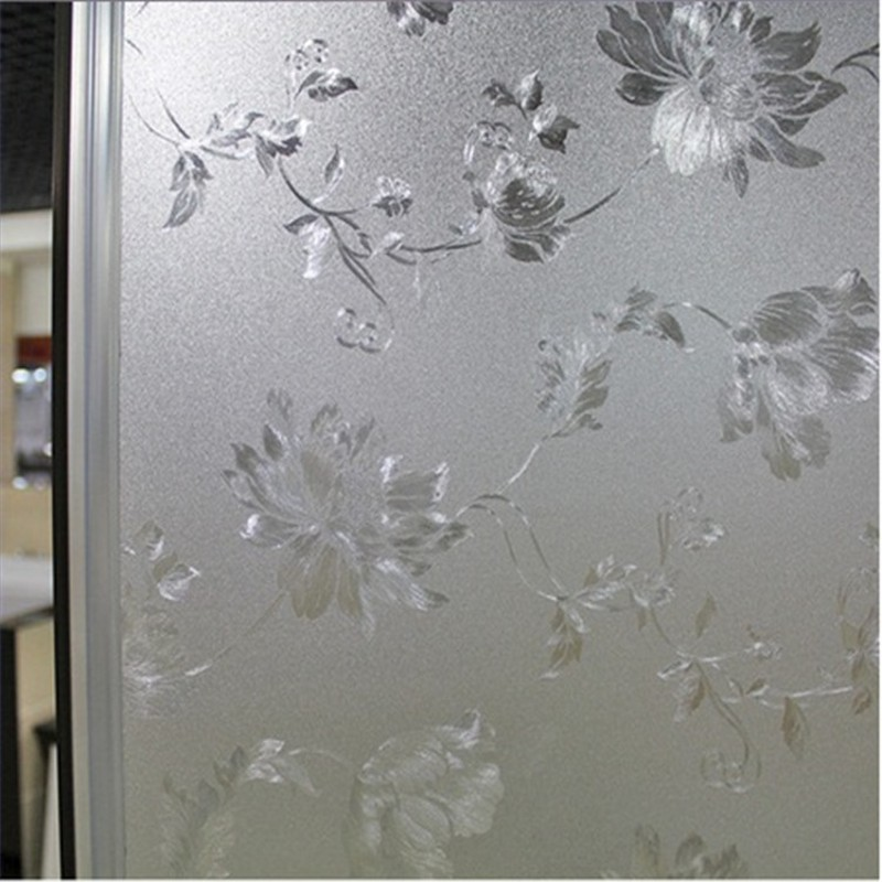 beibehang water Hibiscus static non abrasive frosted glass film pastoral bathroom window transparent opaque cellophane wallpaper in Wallpapers from Home Improvement