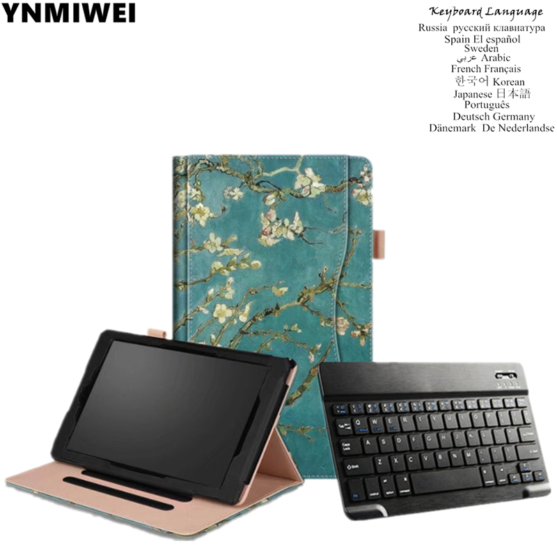 Tablet Case For Amazon Kindle Fire HD10 2017 Bluetooth Keyboard Leather Case For Amazon Kindle Fire HD 10 2015 цена