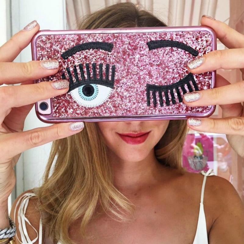 Brand Chiara Ferragni Bling Glitter Powder 3D Big Eye Eyelashes Plating Phone Iphone 6 6S 7 8 Plus 10 X Cover