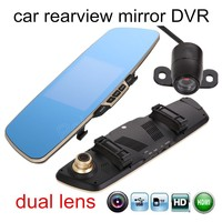 new arrival 5 inch with rear camera HD Dual Lens Cam Car Black Box Vehicle Recorder Rearview Mirror DVR parking