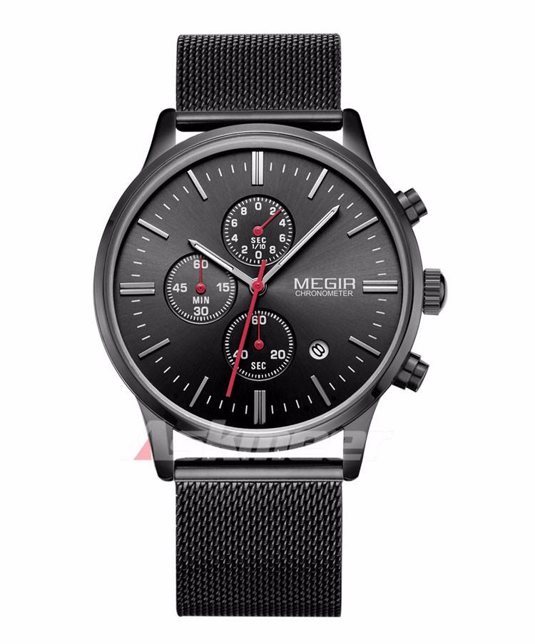 Megir Brand Men's Watch Clock reloj hombre Luxury Stainless Steel Mesh Strap Business Quartz Wristwatch Mens Watches (5)