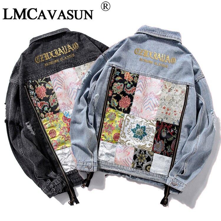 LMCAVASUN marque veste en Jean pour femmes mode Graffiti Patch conceptions lâche Jean manteau décontracté Jaqueta Feminina dames extérieur