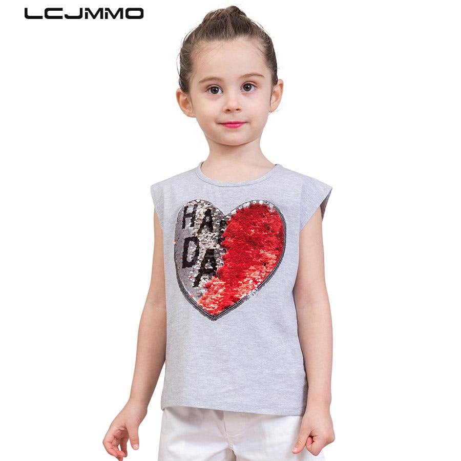 LCJMMO 2018 Summer Girls T Shirt Tops Tee 100 Cotton Girl Tshirt Sequin Casual Kids T