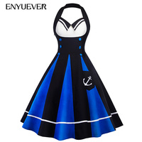 Enyuever Vintage Dresses Robe Pin Up 50s Swing Halter Sailor Stlye Tunic Rockabilly Party Summer Dress