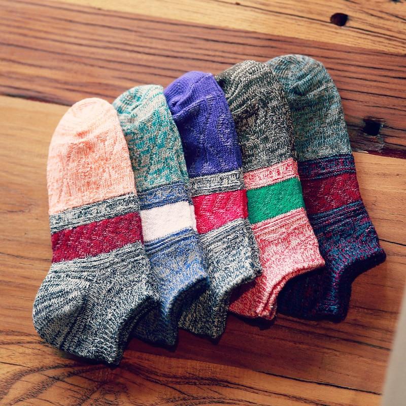 5 Pairs/lot Women Men Spring Cotton Socks Striped Short Colorful Socks Japanese Retro Patchwork Thick Ankle Socks Boat Soks