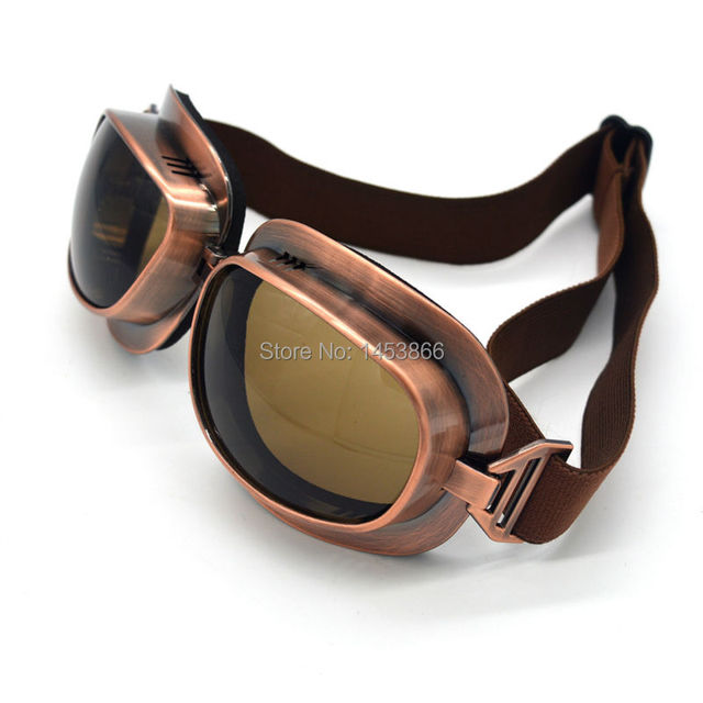 1 PCS Copper frame motocycle goggles vintage pilot moto biker glasses Motocross spectacles