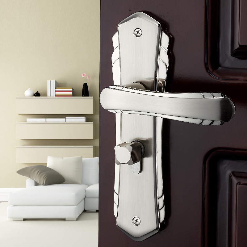 Silver door lock bethroom bedroom door handle lock wooden - Door handles with locks for bedrooms ...