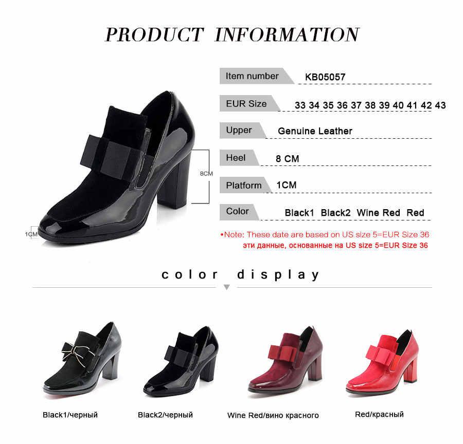 FITWEE ขนาด 33-43 รองเท้าส้นสูงรองเท้าหนังแท้ Bowknot Dropshipping ข้อเท้ารองเท้าฤดูใบไม้ผลิฤดูใบไม้ร่วงรองเท้าผู้หญิงรองเท้า