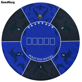 1.2m Blue Texas Hold'em Poker Tablecloth Rubber Table Mat with flower pattern Casino Board Game Poker Accessories