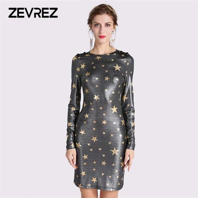 01cdb744363ea US $12.38 |Spring Winter Women dress Star Print Mini Dresses 2018 Long  Sleeve Short O Neck Bodycon Sexy Sheath Party Female Dress Zevrez-in  Dresses ...
