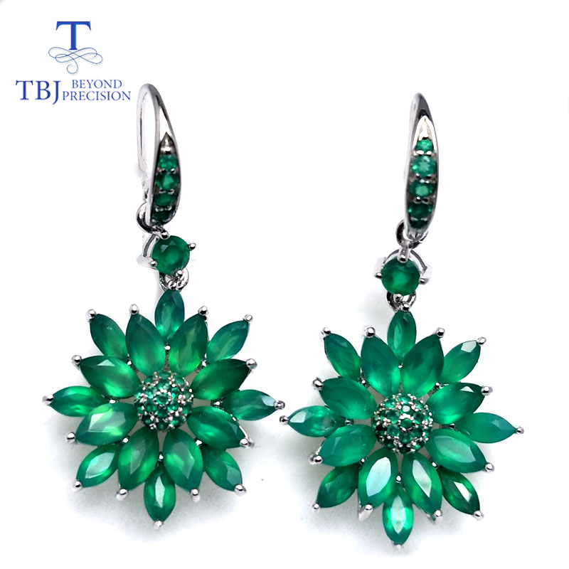 TBJ,green agate earrings natural mix gemstone flower design 925 sterling silver luxury fine jewelry wedding gift for woman