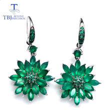 Женские серьги из зеленого агата tbj стерлингового серебра 925