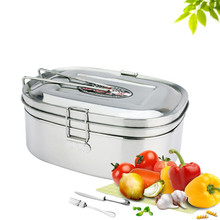 1Pc Portable High Capacity Silver Square Stainless Steel Double Layers Lunch Boxs Tableware Food Container Student Gifts