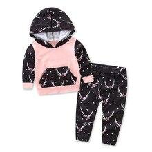 Baby Set 2017 Autumn Winter Newborn Printing Long Sleeve Hoodies Sweater Long Pants 2psc Boys Girls Children Bodysuit Fashion