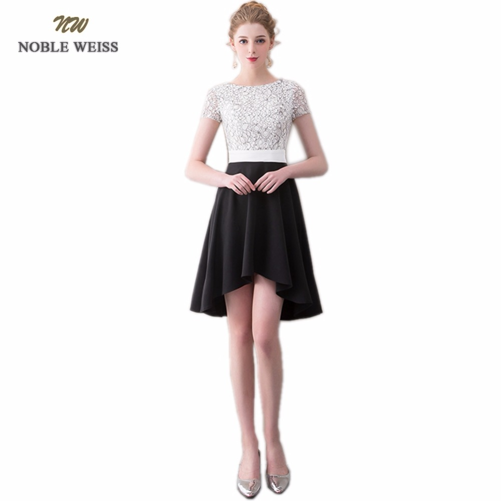 NOBLE WEISS Asymmetrical   Prom     Dresses   O-Neck Lace Robe De Soiree Sexy New Style Zipper Back   Prom     Dress   With Short Sleeves