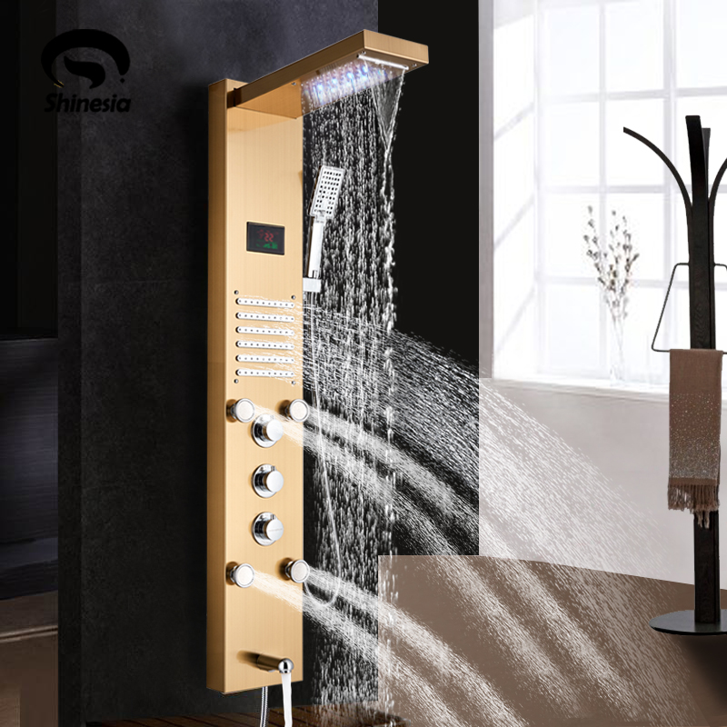 Golden Shower Panel LED Light Bathroom Bath Shower Column Tower Digital  Screen Waterfall Rain Shower Mixers Rotate Massage Jets
