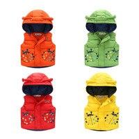 2016 Baby Boy Autumn Winter Waistcoats Cute Beatles Cartoon Design Costumes Children Warm Outerwear Toddler Kids Vest Jackets