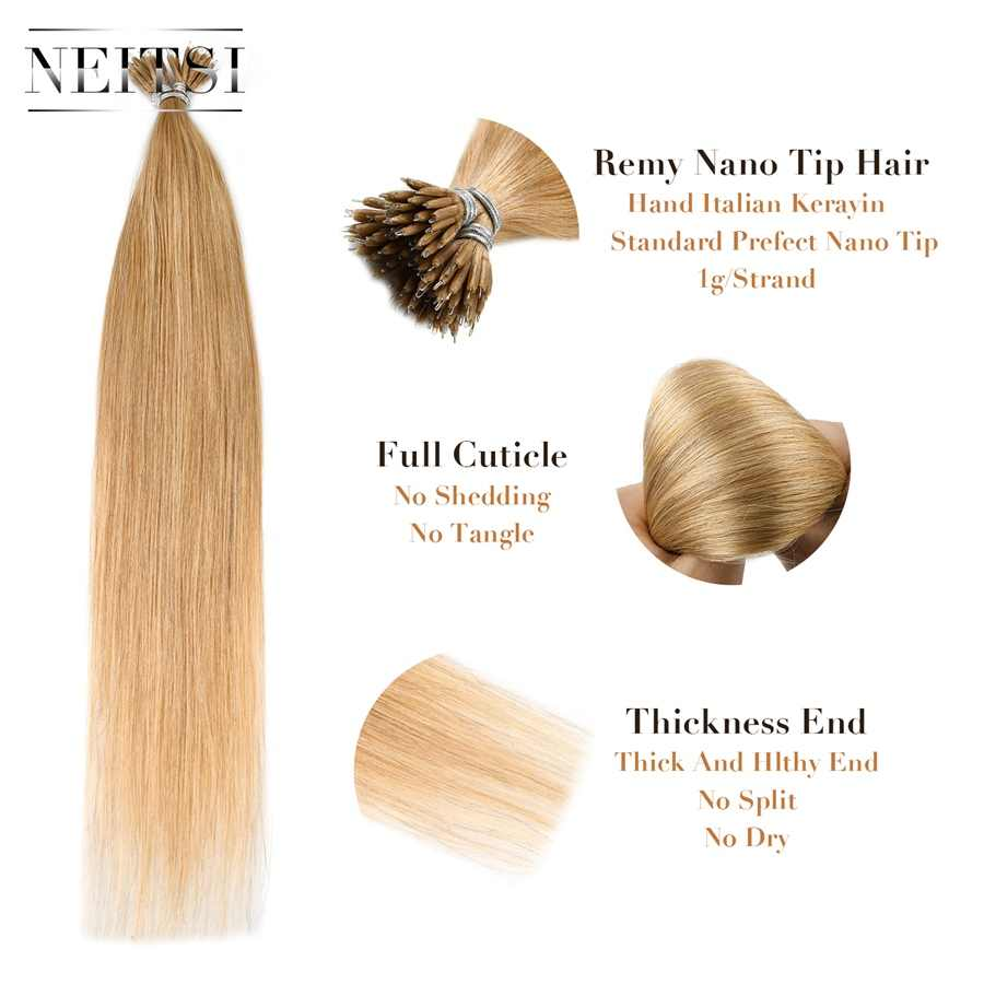 """Neitsi em linha reta micro contas nenhum remy nano anel links extensões do cabelo humano 16 """"20"""" 24 """"1.0 g/s 50g 100g loira preto 20 cores"""