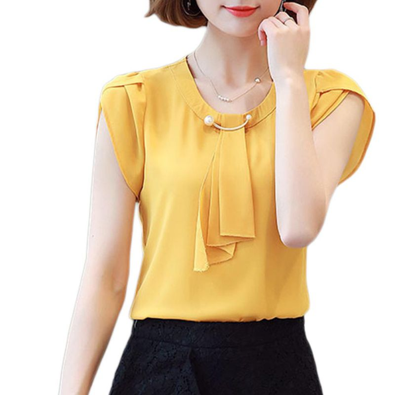 Women Short Sleeve Chiffon   Shirt   Office Ladies O Neck Slim   Blouses     Shirts