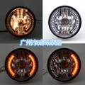 7 Inch H4 Round Motorcycle Headlight Turn Signal Light Flasher 35W 12V Amber LED Head Lamp for Harley