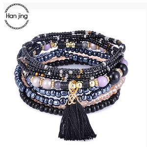 Bohemia Tassel Charm Beads Bracelets For Women Boho Candy Color Multilayer Wrap Bracelet Set Wristband Jewelry pulseira feminina