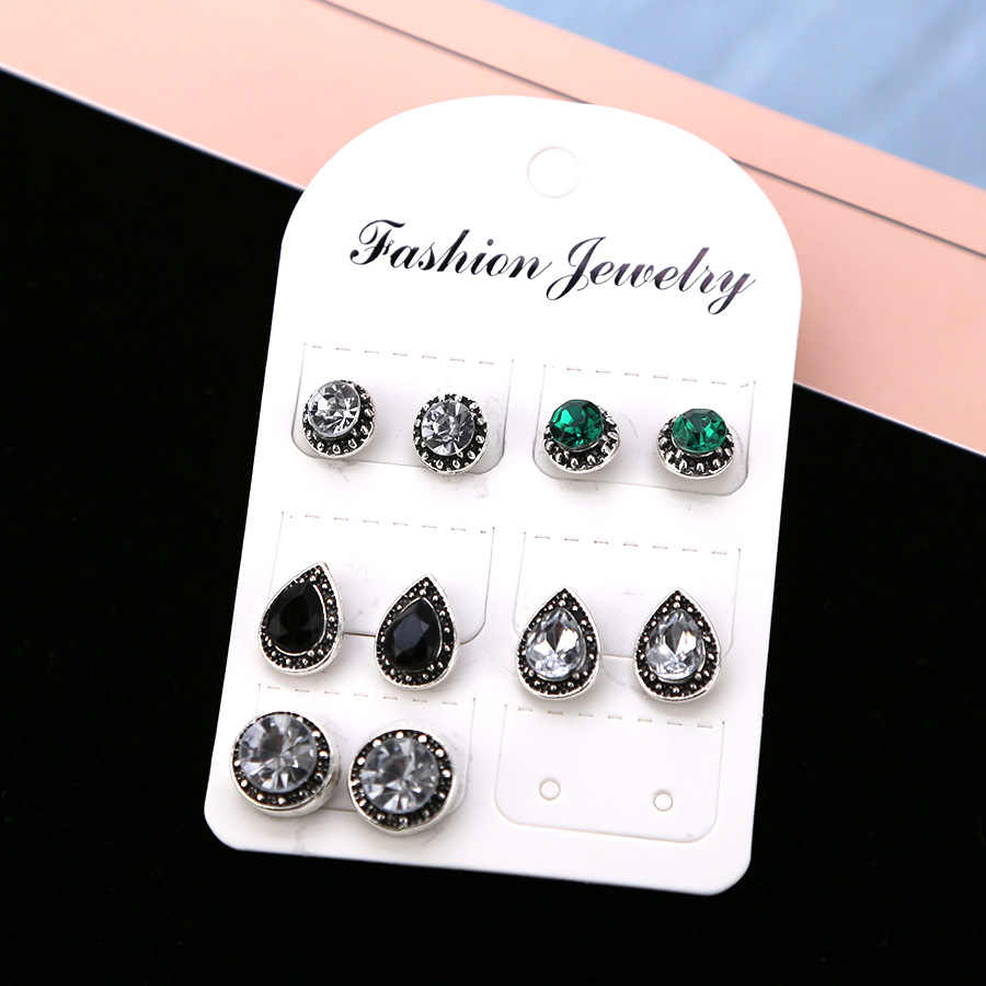 5 pairs /set Women Crystal Earrings for Women Boucle D'oreille Jewelry Bohemian Stud Earring Set Green Droplets Brincos