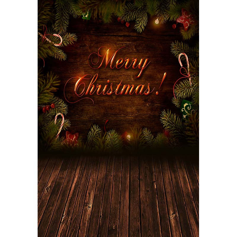 Custom vinyl cloth Christmas pine tree branch wood floor photography backdrop for stage photo studio portrait background CM-6320 wood floor indoor photography backdrop cloth