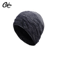 new arrival 2017 men winter knitted hat fleece beanie men winter weave hats dip dyeing beanies warm