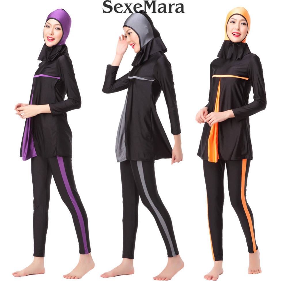 2019 Celoplošné skromné muslimské plavky Islámské ženy Patchwork Arabské plavky s dlouhým rukávem Hijab BeachWear S-3XL