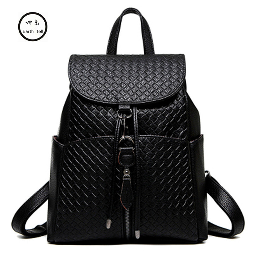 women Weaving PU leather backpack female fashion office ladies work font b bags b font stylish