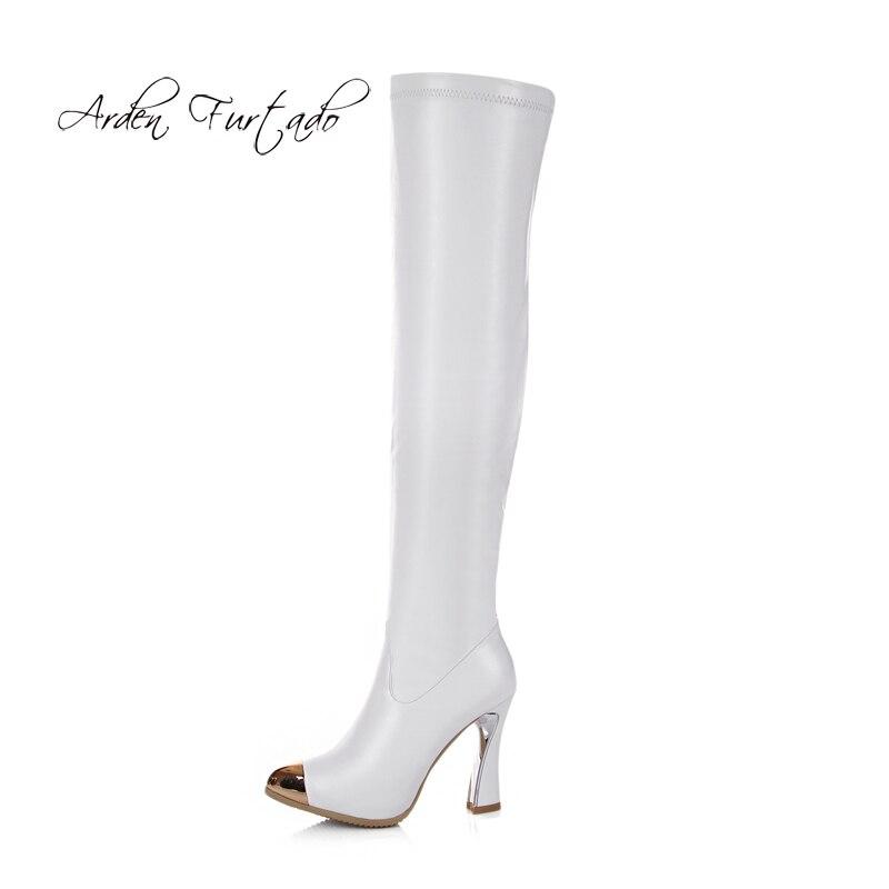 Chaussures Cm Ther Métal D'hiver Blanc Étrange Orteil 2018 Style Haute Arden Talons white 10 Bottes Chaussons Mode En Automne Genou Femme Black Furtado Sur faqwYqz