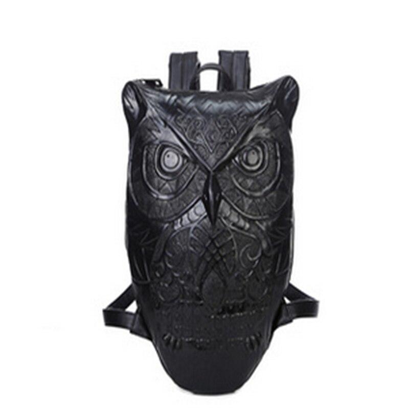 2018 mode Animal hibou imprimer voyage sac à dos Punk marée hommes personnalité 3D Animal Type 14 pouces ordinateur sac à dos