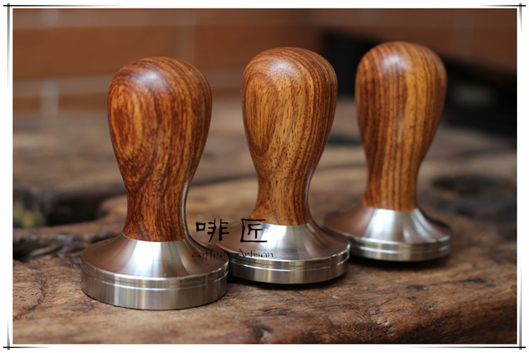 1pc Professional Handmade Dalbergia odorifere wooden Handle 51/58/58.35mm Stainless Steel base Coffee Espresso Tamper Barista