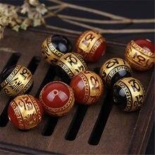 Perles d'espacement de bouddha gravées noires/rouges, perles artisanales 10mm 12mm 14mm 16mm, pour fabrication de bijoux, DIY, bricolage, 2 pièces/lot
