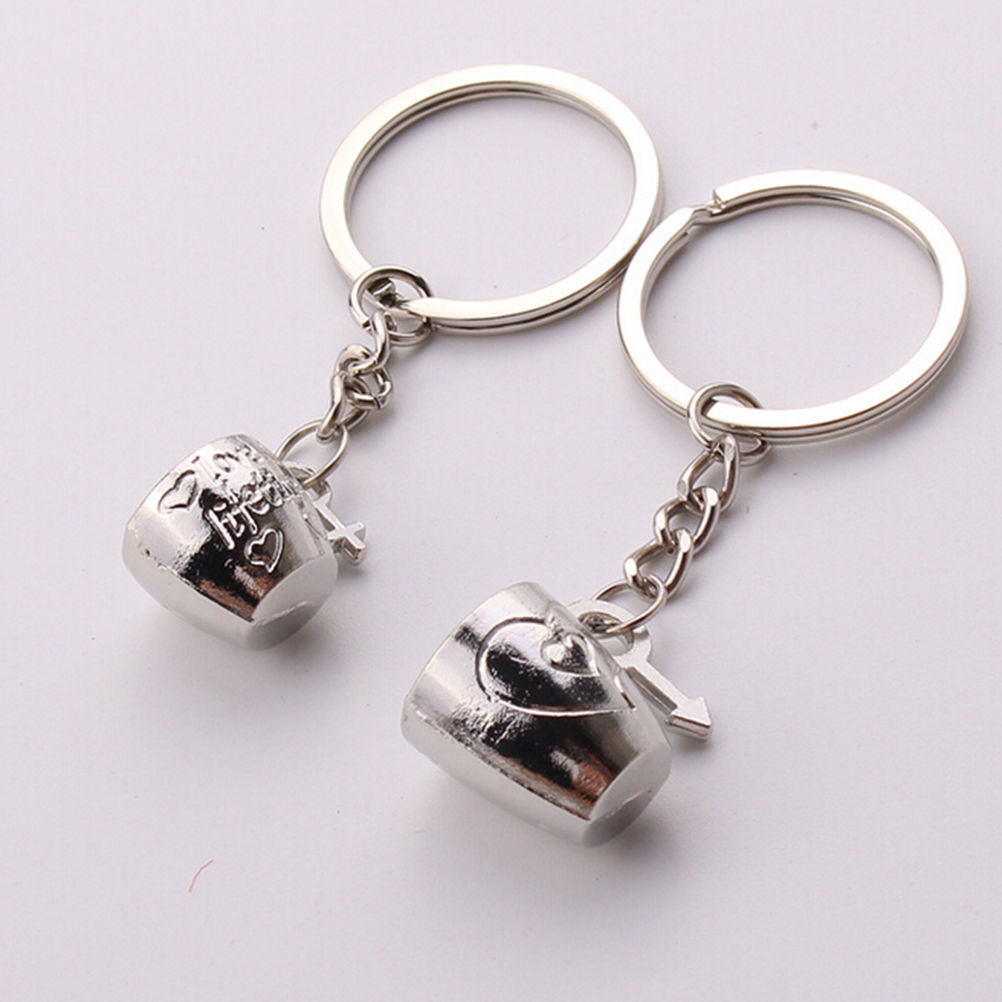 1 Pair Trendy 3D Couple Cup Keychain Letter I Love You Love Heart Key Chains Silver Metal Key Chain Jewelry Lovers' Gifts