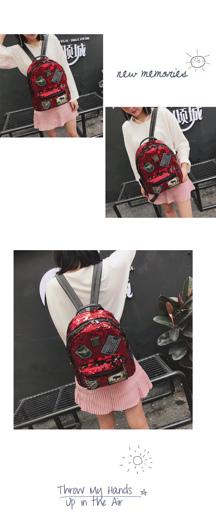 Sequin Backpack Korean version 2018 New Personality Badge Fashion Backpack Wild Casual 10
