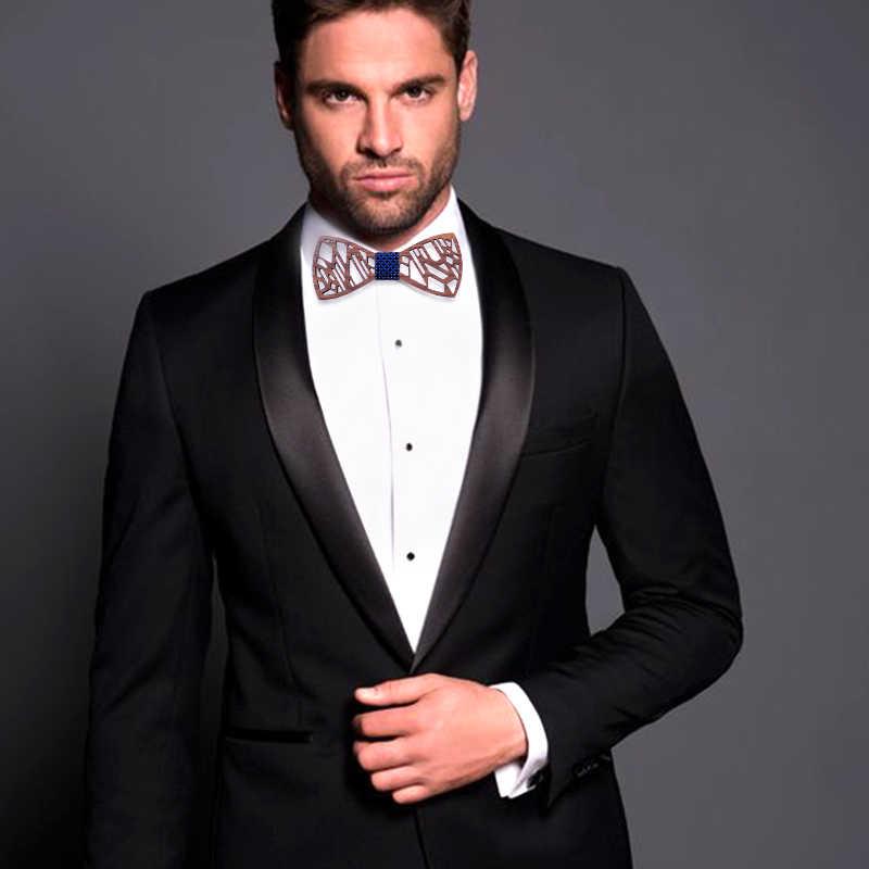 Originele Houten ontwerp mannen strikje blauw spotted stropdas bowtie kunstmatige lederen strikje broche houten box wedding party gift