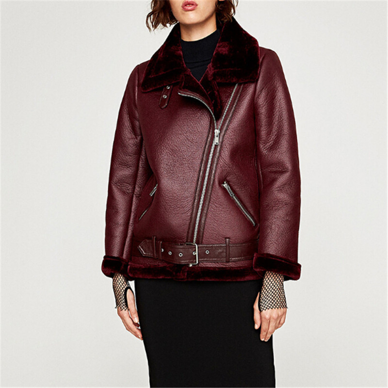 High Quality Faux Leather Suede Coat 2018 Aviator Leather Jacket Winter Coat Lambs Wool Fur Collar Suede Jackets