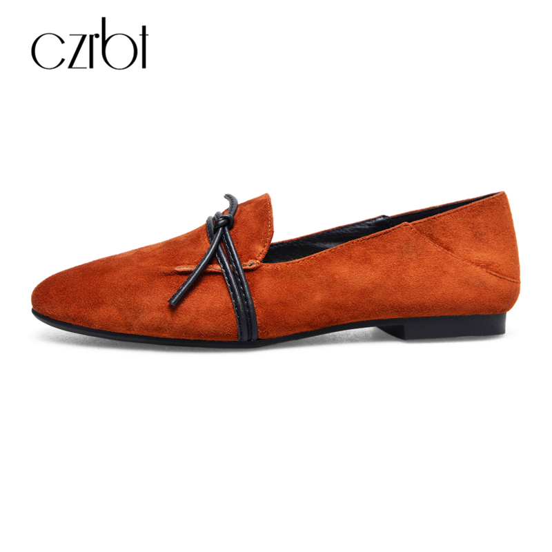 CZRBT Spring Autumn Women Shoes Sheep Suede Leather Square Toe Loafers Women Shallow Mouth Solid Color Flat Shoes Casual Flats spring autumn women shoes fashion rhinestone slip on round toe flats shallow mouth mature shoes mary janes casual loafers shoes