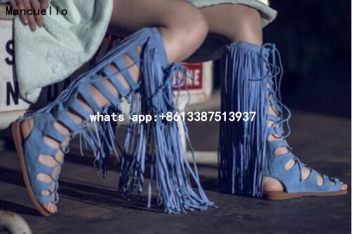 Free shipping hot selling Mancuello long tassels cut-outs woman summer lace up knee boots back zipper gladiator sandal boot