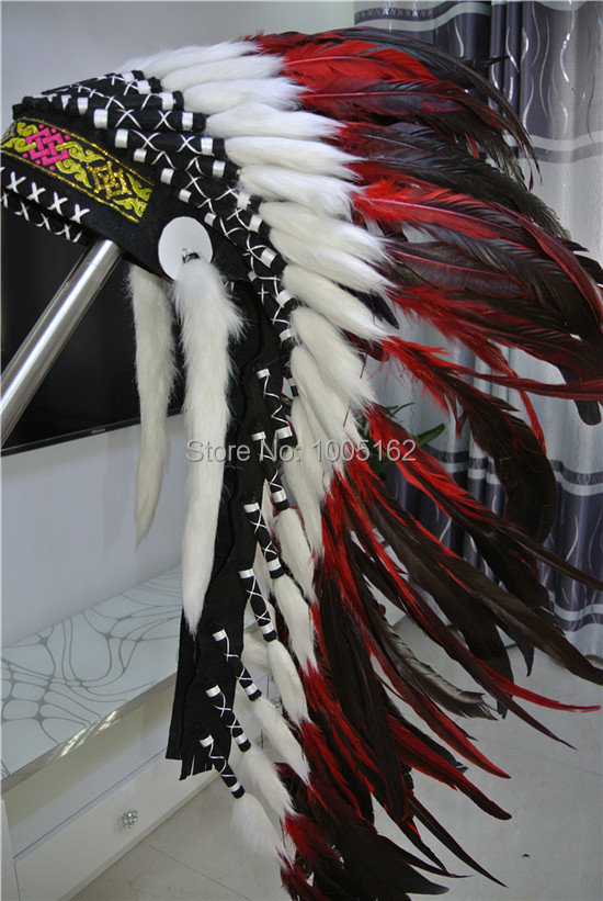 Free Shipping Red feather Headdress 28 high feather headpiece Coque feather headdress halloween costume