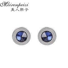 Роскошные запонки для мужчин и женщин, синие циркониевые конусные запонки с кристаллами, модный бренд, запонки, высокое качество, Свадебные Запонки